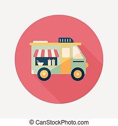 vervoer, verkoper, karren, plat, pictogram, met, lang,...