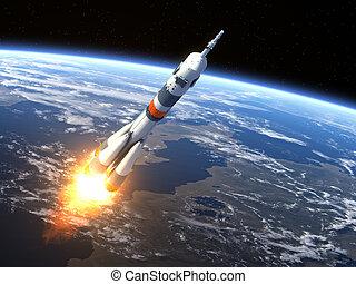 """vervoerder, """"soyuz-fg"""", raket lancerend"""