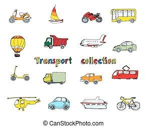 vervoeren, doodle, set, gekleurde
