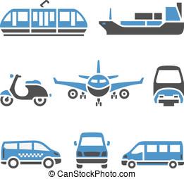 vervoeren, iconen, -, een, set, van, negende