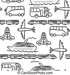 vervoeren, model, doodle, seamless