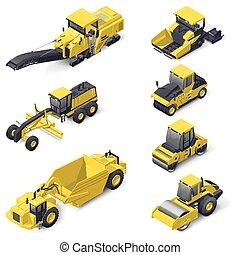 vervoeren, voor, het leggen, en, herstelling, van, asfalt, isometric, pictogram, set