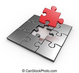 vervollständigen, puzzel, meister, stück, letzter , rotes