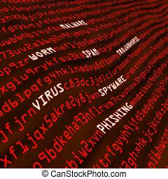 vervormd, rood, akker, van, cyber, aanval, methodes