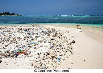 vervuiling, op het strand, van, tropische , zee