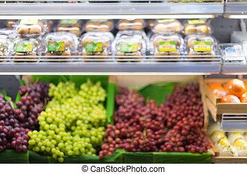 verwackeltes bild, von, regal, in, supermarkt