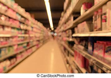 verwackeltes bild, von, supermarkt