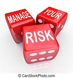 verwalten, dein, risiko, wörter, spielwürfel, einschränken,...