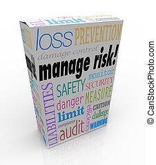 verwalten, risiko, paket, kastensicherheit, sicherheit, grenze, haftung, verlust