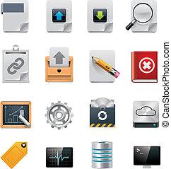 verwaltung, ikone, vektor, server