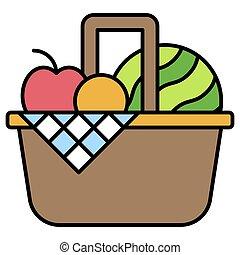 verwandt, ikone, korb, übersommern frucht, urlaub, vektor