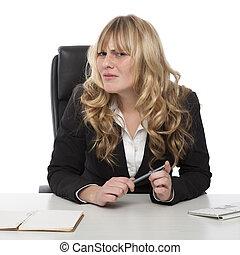 verward, businesswoman, met, een, onzeker, frons