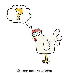 verward, gedachte, textured, chicken, bel, spotprent