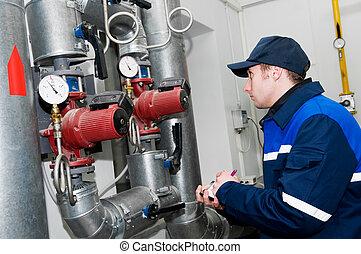 verwarmende ingenieur, in, boiler kamer