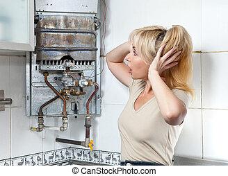 verwarming, omgooien, gas, huisvrouw, water, kapot, heeft