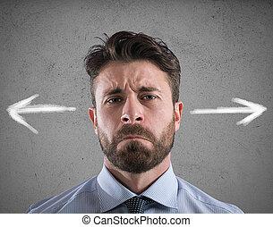 verwarring, concept, businessman., moeilijk, keuzes