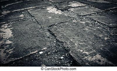 verweerd, textuur, van, bevlekte, oud, donker, baksteen muur, achtergrond, 3