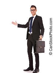 verwelkoming, aktentas, zakenmens
