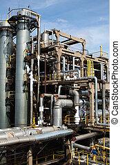 verwerking, gas, fabriek, aanzicht