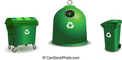 verwerten wieder, grün, behälter