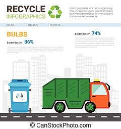 verwerten wieder, infographic, banner, verschwendung, lastwagen, transport, sortierung, muell, begriff