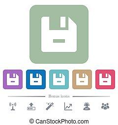 verwijderen, bestand, plat, iconen, op, kleur, afgerond, plein, achtergronden