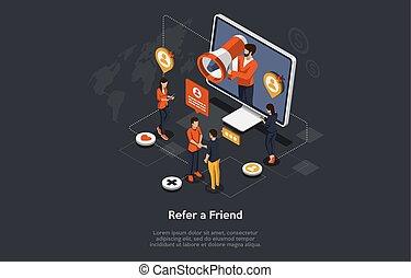 verwijzing, megafoon, concept., strategy., marketing, code., delen, vector, program., gebruiken, refferal, programma, verwijzen, mensen, isometric, vriend, word., illustratie, man, trouw