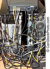verwirren, kabel, unordnung, mit, computeranschluß