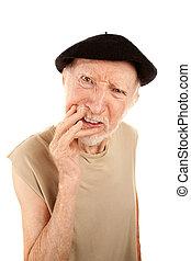 verwirrt, älterer mann, in, baskenmütze