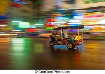 verwischen, bangkok, thailand, bewegung, tuk-tuk