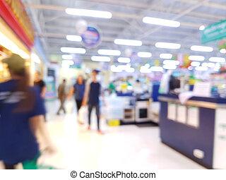 verwischen, foto, von, supermarkt, in, thailand, mit, kunden