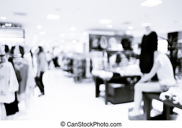verwischen, hintergrund, :, kunde, an, kaufmannsladen, halle, verwischen, hintergrund, mit, bokeh