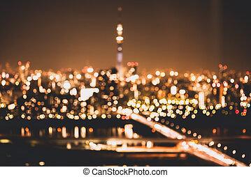 verwischen, stadt- licht, hintergrund, abstrakt