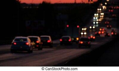 verwischt, autos, bewegen, an, einbruch der nacht, auf,...