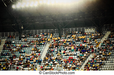 verwischt, crowd, von, leute, stadion