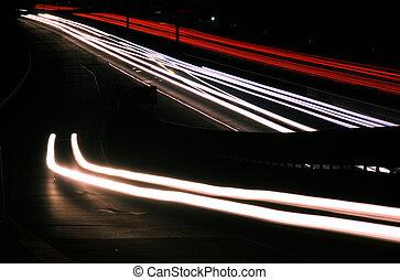 verwischt, lichter, auf, landstraße, nacht