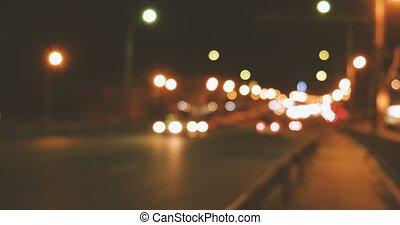 verwischt, nacht, verkehr autobahn