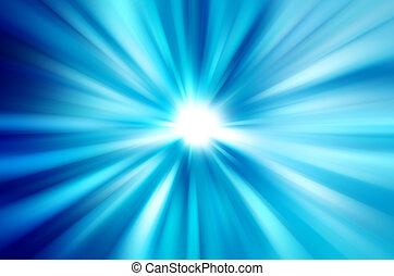verwischt, strahlen lichtes, abstrakt, blauer hintergrund