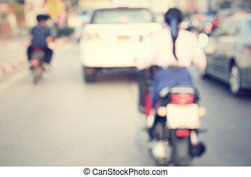 verwischt, von, motorrad, auf, straße