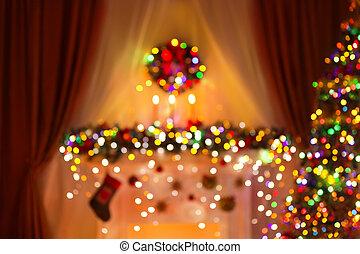 verwischt, weihnachtszimmer, lichter, hintergrund, fokus, weihnachtsbaum