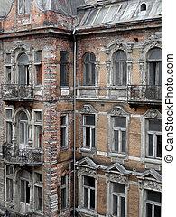 verwoeste, gebouw, gezicht