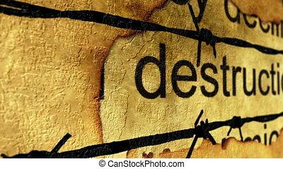 verwoesting, en, barbwire, concept