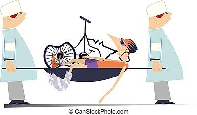 verwond, arts, fietser, twee, illustratie, kapot, fiets