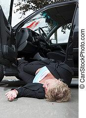 verwond, bestuurder