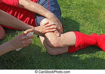 verwond, gras, sportsman
