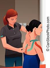 verwond, schouder, therapist, masseren