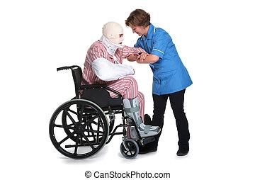 verwond, wheelchair, verpleegkundige, man