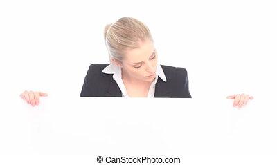verwonderd, businesswoman, vasthouden, boa
