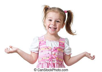 verwonderd, gekke , kind, meisje, op wit, achtergrond
