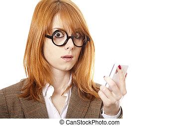 verwonderd, handel vrouwen, in, gekke , glasses.